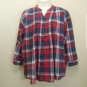 Woman Within 2X Top Red Blue Plaid Smocked V Neck
